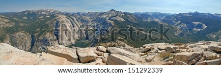 Panoramic View from the Summit of Half Dome, Yosemite National Park, California - stock photo