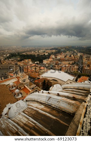 Panoramic view from the top of The Vatican, Rome, Italy, Europe - stock photo