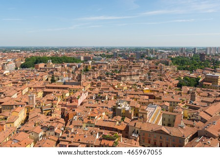 Panoramic view from the top of Torre degli Asinelli (Asinelli's Tower) on a sunny day, in the center of Bologna, in Emilia Romagna region, in Italy.