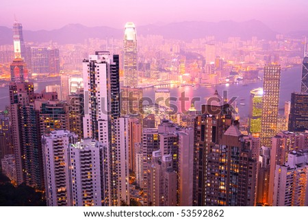 Panoramic view from Victoria's Peak, Hong Kong Island, Hong Kong, China - stock photo