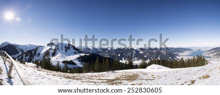 Panoramic view from Wallberg mountain, Germany - stock photo