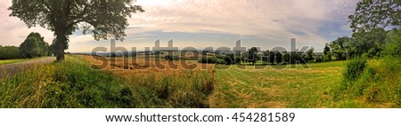 Panoramic view in Alsace, direction Rhine - stock photo