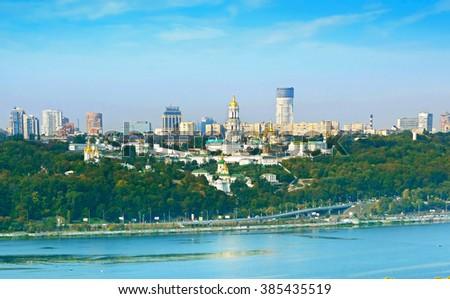 Panoramic view Kiev with Kiev Pechersk Lavra. Ukraine - stock photo