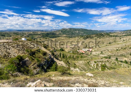 Panoramic view, Morella, the province of Castellon, Spain. - stock photo