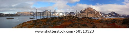 Panoramic view near to Kulusuk, Greenland - stock photo