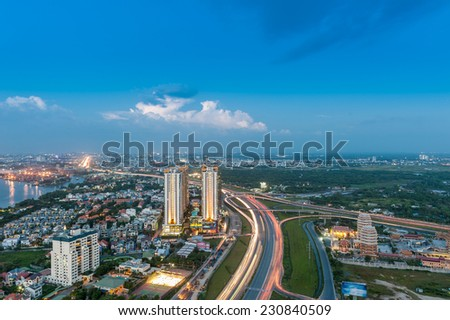 Panoramic view of 1A Highway in Ho Chi Minh city (or Saigon) in sunset. 1A Highway is the longgest traffic road from the North to the South of Vietnam - stock photo