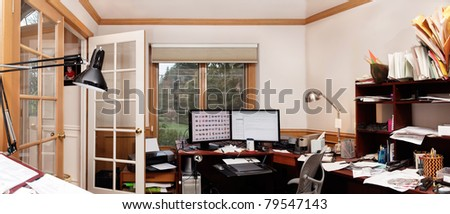 Panoramic view of a home office - stock photo