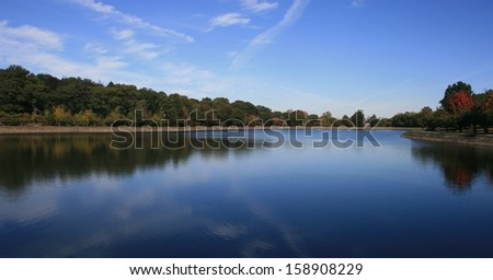 Panoramic view of a lake in autumn, suburban Boston - stock photo