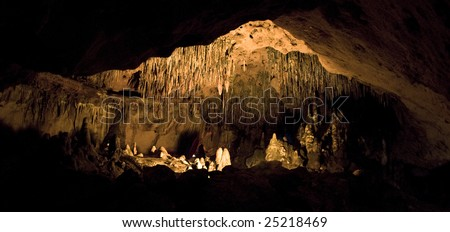 Panoramic view of a lit room inside the cave at Florida Caverns State Park - stock photo