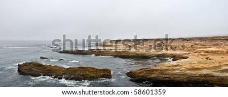 Panoramic View of a rocky coast, Montana de Oro State Park, California - stock photo
