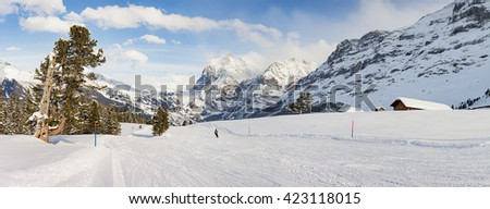 Panoramic view of a ski slope in Grindelwald, Switzerland.