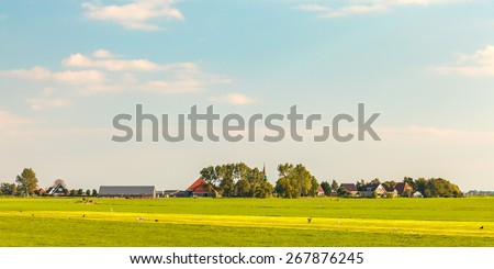 Panoramic view of a small Dutch village in the province of Friesland - stock photo