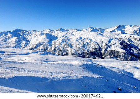 Panoramic view of a snow covered mountain range, massif de la vanoise, Meribel, France