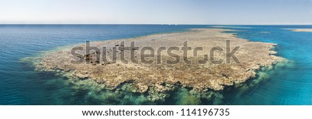 Panoramic view of a tropical coral reef in the sea