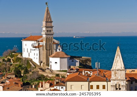 Panoramic view of adriatic sea and city of Piran in Istria, Slovenia - stock photo