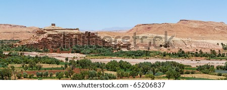 Panoramic view of Ait Ben Haddou, Morocco. - stock photo