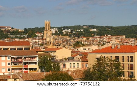 Panoramic view of Aix-en-Provence, France - stock photo