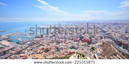 Panoramic view of Alicante in Spain - stock photo