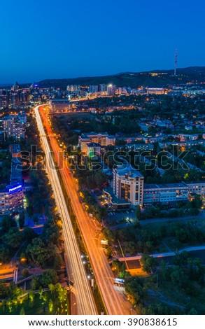 Panoramic view of Almaty city in Kazakhstan - stock photo