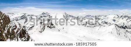 Panoramic view of Alps mountains with Grossglockner peak, Kaprun area, Austria - stock photo