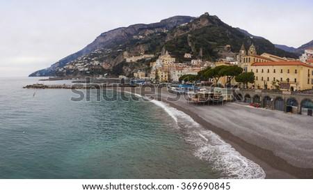 Panoramic view of Amalfi seacoast in winter, City of Amalfi, Campania province, Italy - stock photo