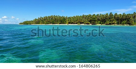 Panoramic view of an unspoiled tropical island with lush vegetation, Caribbean sea, Panama - stock photo