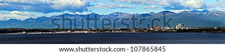 panoramic view of Anchorage, Alaska - stock photo