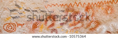 Panoramic view of ancient cave paintings in Patagonia, Argentina. - stock photo
