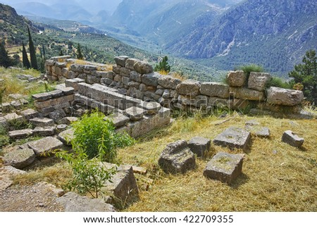 Panoramic view of Ancient Greek archaeological site of Delphi,Central Greece - stock photo