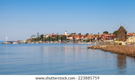 Panoramic view of ancient town Nessebar, Bulgaria. Black Sea coast in sunny day - stock photo