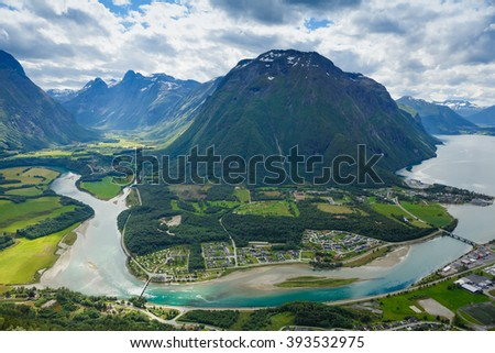 Panoramic view of Andalsnes City, Norway Mountain Landscape  - stock photo