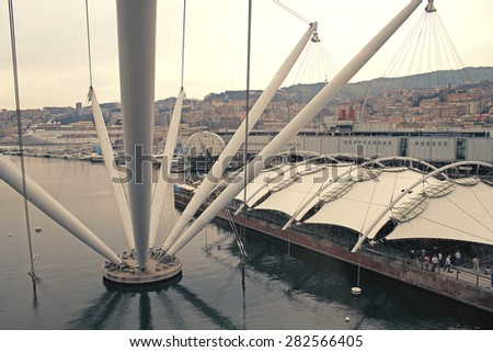 Panoramic view of   Antique port. Top view. Genoa, Liguria, Italy.  - stock photo
