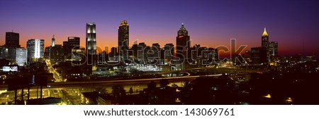 Panoramic view of Atlanta skyline at dusk, Atlanta, Georgia - stock photo