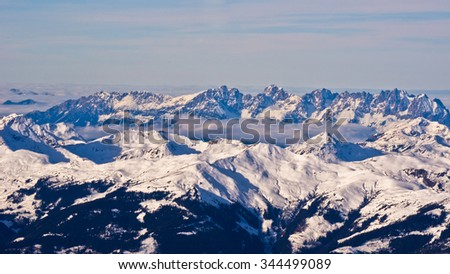 Panoramic view of Austrian alps from the top of Kaprun glacier in Tyrol, Austria - stock photo