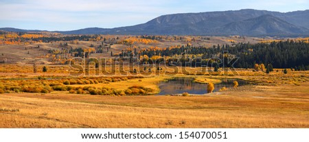 Panoramic view of autumn landscape near Yellowstone national park - stock photo