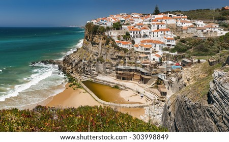 Panoramic view of Azenhas do Mar, a seaside town in the municipality of Sintra, Portugal. - stock photo