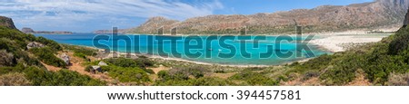 Panoramic view of Balos Lagoon and beach from the Cape Tigani, Crete, Greece - stock photo