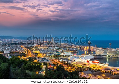 Panoramic view of Barcelona and port in Spain - stock photo