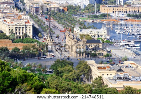 Panoramic view of Barcelona, Catalonia, Spain. - stock photo