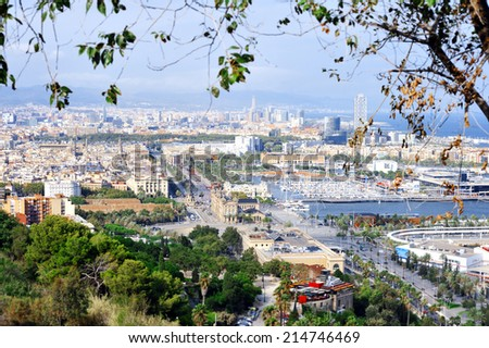 Panoramic view of Barcelona from the top, Catalonia, Spain. - stock photo
