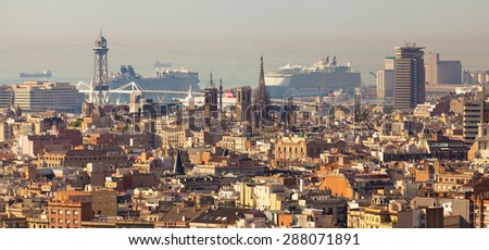 Panoramic view of Barcelona, in the setting time. Evening over Barcelona. Panorama of the City of Barcelona, Spain.