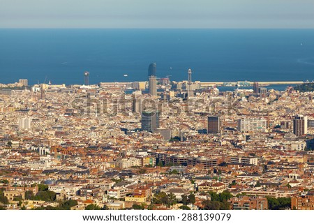 Panoramic view of Barcelona in the sunset time. Barcelona in the summer evening. Spain. - stock photo