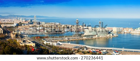 Panoramic view of Barcelona with Port in cloudy day. Catalonia, Spain - stock photo