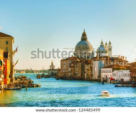 Panoramic view of Basilica Di Santa Maria della Salute on a sunny day - stock photo