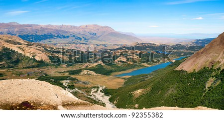 Panoramic view of beautiful landscape in Patagonia, Argentina, South America - stock photo