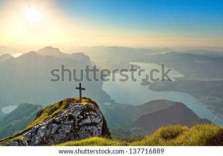 Panoramic view of beautiful landscape with Mondsee lake at sunset from Schafberg mountain in Salzkammergut, Austria - stock photo