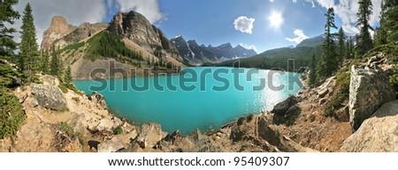 Panoramic view of Beautiful Moraine Lake, Near lake Louise, in Banff National Park, Alberta, Canada - stock photo