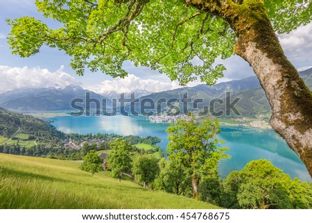 Panoramic view of beautiful scenery in the Alps with clear lake and green meadows full of blooming flowers on a sunny day with blue sky and clouds in springtime, Zell am See, Salzburger Land, Austria - stock photo
