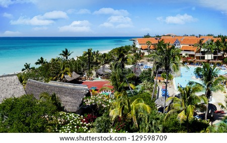Panoramic view of beautiful tropical scenery in Cuba - stock photo
