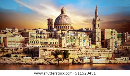panoramic view of beautiful Valletta over sunset . Malta